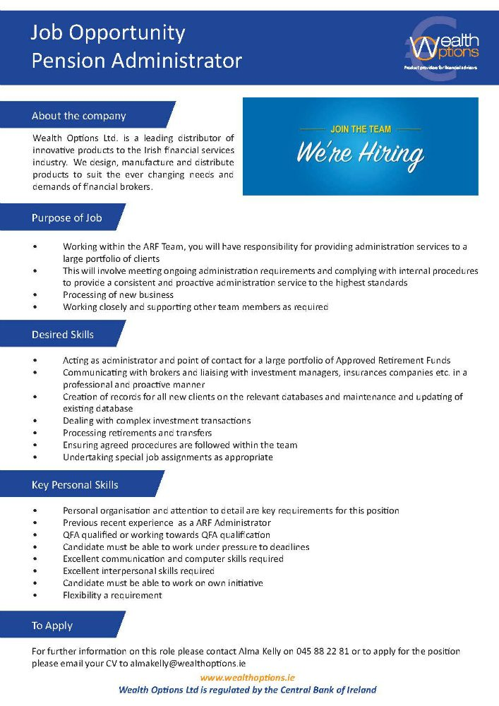 Job Opportunity Pension Administrator